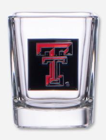 Texas Tech Double T Enamel Emblem on Square Shot Glass