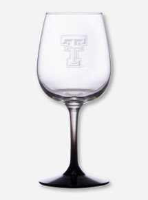 Texas Tech Double T Etched on Black Stem White Wine Glass