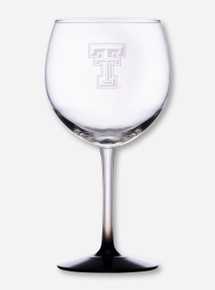 Texas Tech Double T Etched on Black Stem Red Wine Glass