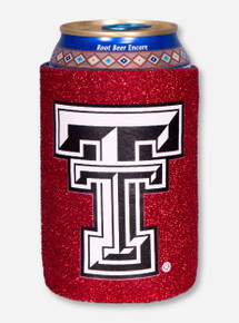 Texas Tech Double T on Red Sparkle Thread Koozie