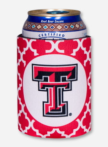 Texas Tech Double T on Red Lattice Koozie
