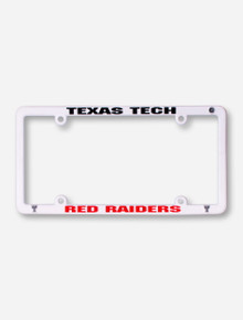 Texas Tech Red Raiders on White License Plate Frame