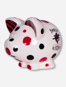 "Texas Tech ""Bankin on the Red Raider"" Polka Dot Ceramic Piggy Bank"