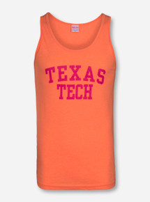 Texas Tech Pink Stack on Orange Tank Top