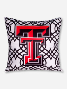 Double T on Black & White Lattice Pillow