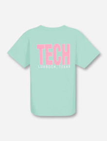 Lubbock, TX TECH in Pink on YOUTH Mint T-Shirt