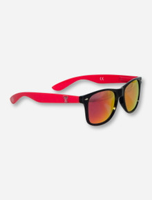 Texas Tech Double T on Red & Black Sunglasses with Mirrored Lenses