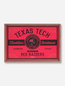 Texas Tech Vintage Label Glass Top Serving Tray