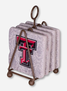 Set of 4 Texas Tech Double T Damask Coasters with Stand