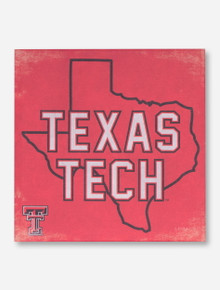Texas Tech in Texas Silhouette on Red Canvas