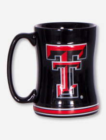 Texas Tech Full Color Double T on Black Curved Mug