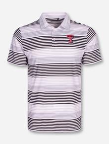 """Columbia Texas Tech """"Fairway"""" White, Black & Grey Striped Polo"""