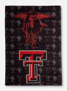 "Texas Tech Glitter Masked Rider & Double T on Black Suede 12.5"" x 18"" Flag"