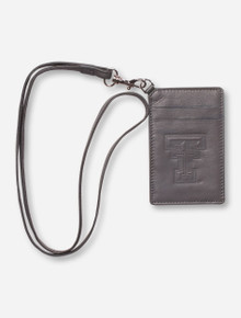 Texas Tech Double T on Grey ID Holder with Lanyard
