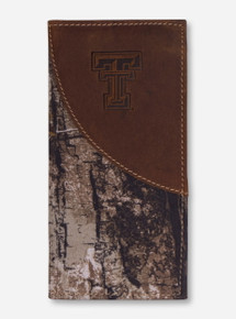 Texas Tech Double T on Brown Leather and RealTree Camo Long Wallet