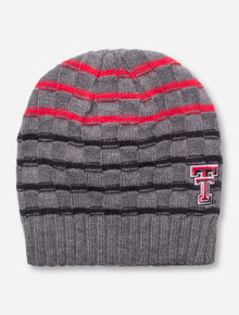 The Game Texas Tech Checkerboard Stitch Grey Striped Beanie