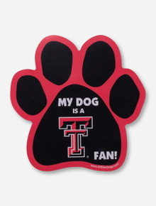 "Texas Tech ""My Dog is A Texas Tech Fan"" Paw Print Car Magnet"