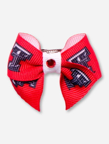 Texas Tech Double T Red and White Dog Bow