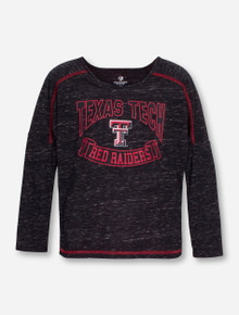 "Arena Texas Tech ""Lily"" GIRL'S Scoop Neck Heather Charcoal Long Sleeve Shirt"