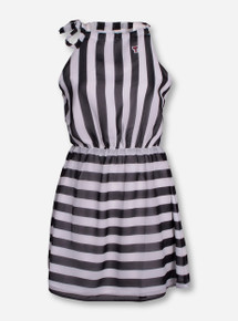 "Texas Tech ""Huron"" Black and White Striped Halter Dress"
