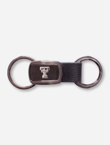"Texas Tech ""Prestige"" Metal and Leather Keychain"