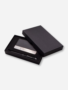 Texas Tech Leather Business Card Holder with Pen Set
