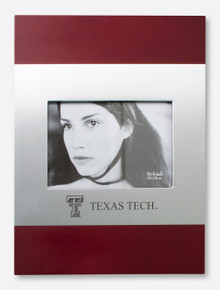 Laser Engraved Texas Tech & Double T on Mahogany & Silver Frame