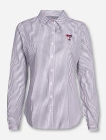 """Cutter & Buck Texas Tech """"Bengal"""" Women's Striped Long Sleeve Button Up Blouse"""