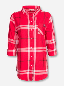 "Texas Tech ""Boyfriend"" Red Plaid Button Up Shirt"