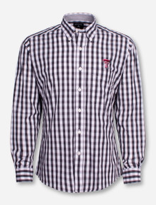 "Antigua Texas Tech ""Alliance"" Checkered Long Sleeve Dress Shirt"