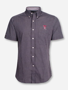 "Antigua Texas Tech ""League"" Checkered Short Sleeve Dress Shirt"