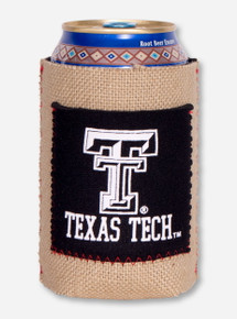 Texas Tech Double T Burlap with Pocket Koozie