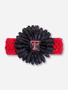 Texas Tech Double T Black Flower on Red Crochet Headband