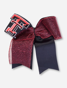 Texas Tech Double T on Black and Red Glitz Cheer Hair Bow