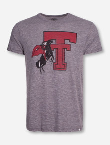 47 Brand Texas Tech Throwback Double T with Rearing Rider on Heather Grey T-Shirt