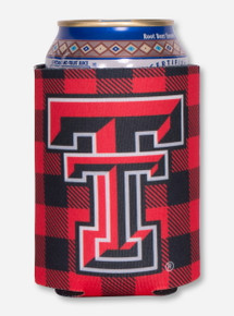 Texas Tech Double T Red Plaid Can Cooler