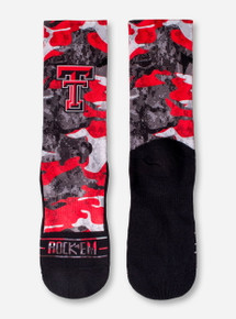 Texas Tech Double T on Red and Black Camo Socks