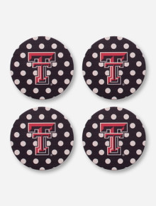 Texas Tech Double T Polka Dot Coaster Set