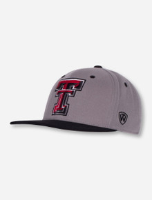 """Top of the World Texas Tech """"Intense"""" Grey and Black Flat Bill Stretch Fit Cap"""