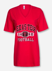 Texas Tech Football Tab on Red V Neck T-Shirt