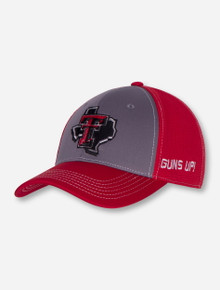 """Top of the World Texas Tech """"Hustle"""" Lone Star Pride on Red and Grey Stretch Fit Cap"""