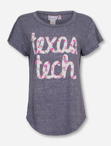 Livy Lu Texas Tech Flower Script on Heather Grey T-Shirt