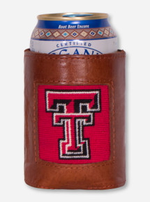 Texas Tech Needle Point and Leather Koozie