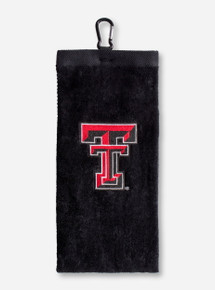 Texas Tech Double T on Black Golf Towel