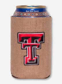 Texas Tech Double T on Burlap Koozie