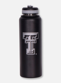 Texas Tech Double T on Matte Black Insulated Bottle