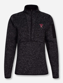 "Antigua Texas Tech ""Fortune"" Charcoal Fleece Half Zip Pullover"