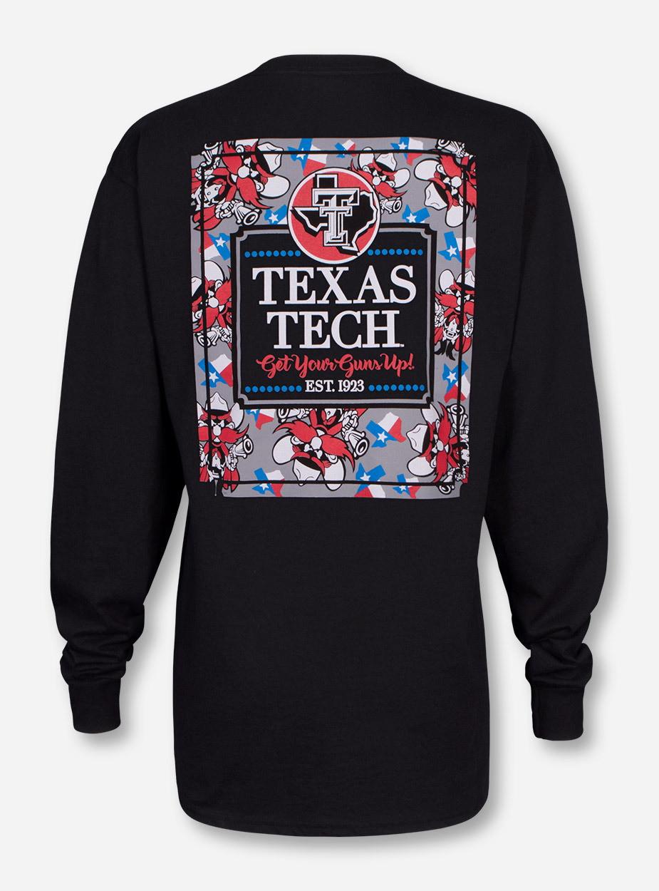 Texas Tech Raider Red Frocket On Black Long Sleeve Shirt