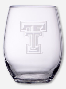 Texas Tech Double T Etched 21oz Stemless Wine Glass