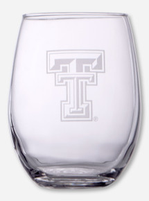 Texas Tech Double T Etched 15oz Stemless Wine Glass